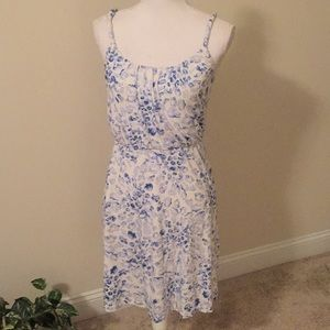 LOFT sundress in white and blue pattern